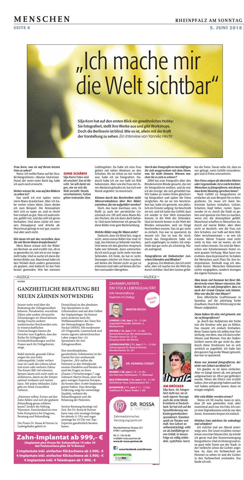 Zeitungsbericht Rheinland Pfalz