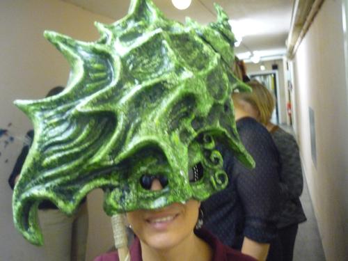 Mit Fischmaske