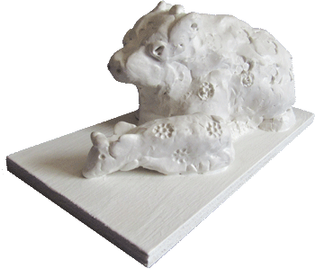 Kuh mit Kalb - Skulptur - Silja Korn